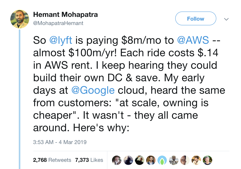 Tweet about datacenter